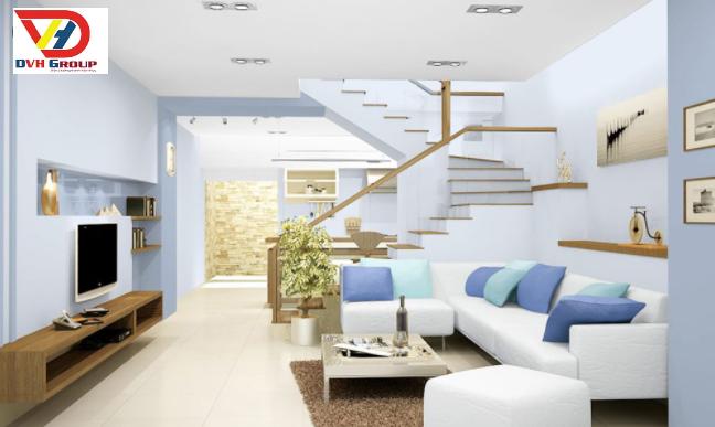Tông màu xanh mát dịu, làm cho căn hộ càng thêm tươi tắn
