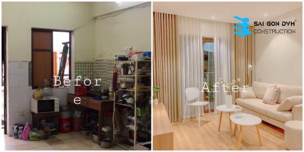 Hình ảnh trước và sau khi sử dụng dịch vụ sửa nhà tại TP Dĩ An
